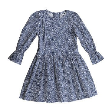 Mila Pin Pleat Drop Waist Dress, Navy Mini Hearts