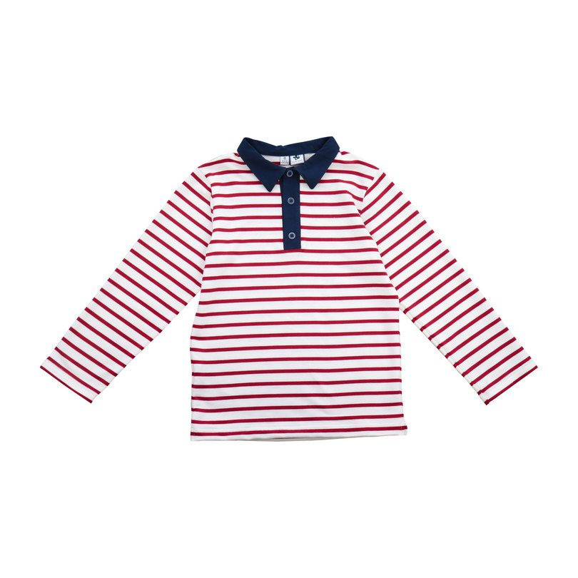 Polo, Cranberry/Cream Stripe
