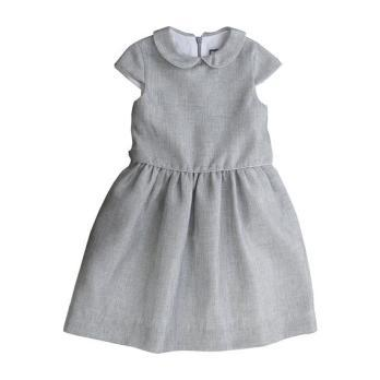 Anna Peter Pan Collar Dress, Silver Sparkle