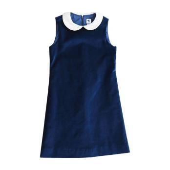 Beatrice Peter Pan Collar Dress, Navy Velveteen