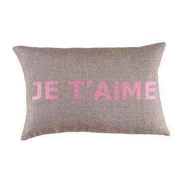"""Je t'aime"" Cushion, Coconut & Pink"