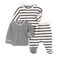 Baby 3pc Striped Footie Set, Navy & White
