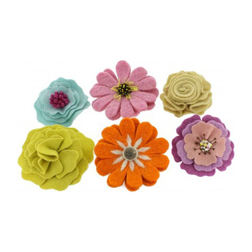 Mixed Flower Hair Clips, Set of 6