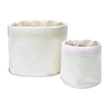 Evie Lined Canvas Storage Bins, Set of Two