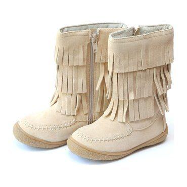Winona Tiered Fringe Leather Mid Boot, Sand