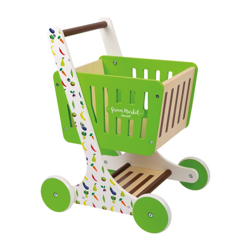 Janod Green Market Wooden Shopping Trolley