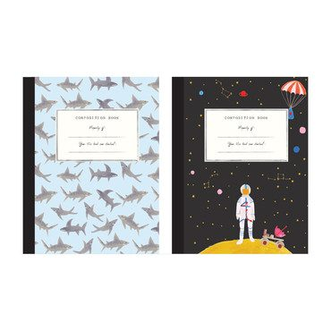 Set of 2 Composition Notebooks, Space/Sharks