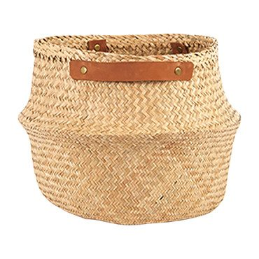 Leather Handle Natural Belly Basket, Large