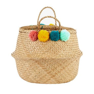 Pom Pom Belly Basket, Multi