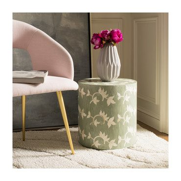 Odelia Bone Inlay Stool, Green