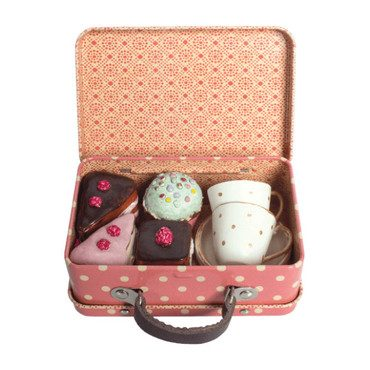 Suitcase with Cakes & Tea Cups