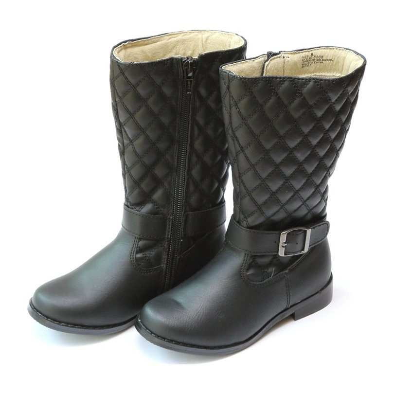 ed19e5abfb4 L'Amour Shoes Morgane Quilted Buckled Tall Boot, Black