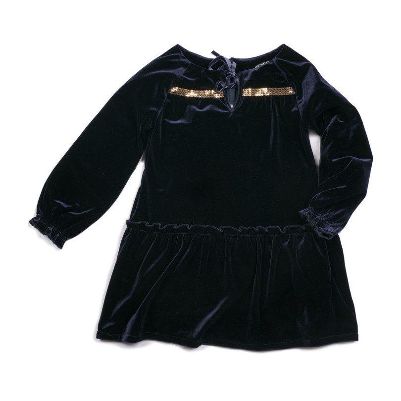 Aria Velvet Dress, Navy