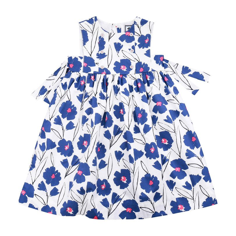 Lara Party Dress, Blue Floral