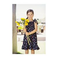 India Smocked Shoulder Tie Sundress, Navy Sailboats