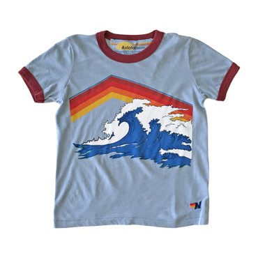 Mountain Wave Ringer Tee, Baby Blue
