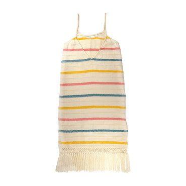 *Exclusive* Mini Annie Handwoven Dress, Rainbow Stripe