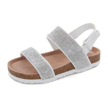 Ella Rhinestone Sandal, Silver Stones