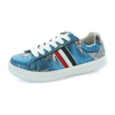 Ava Star and Side Stripe Sneaker, Blue Metallic