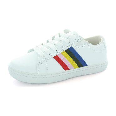 Poppy Rainbow Strip Sneaker, White