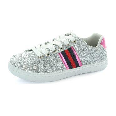 Olivia Side Stripe Sneaker, Silver Glitter