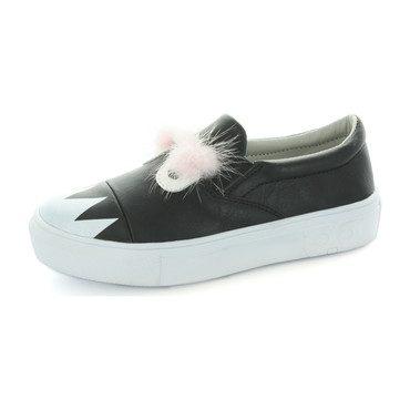 Charlie Monster Fur Slip-On Sneaker, Black
