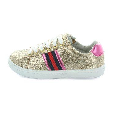 Olivia Side Stripe Sneaker, Gold Glitter