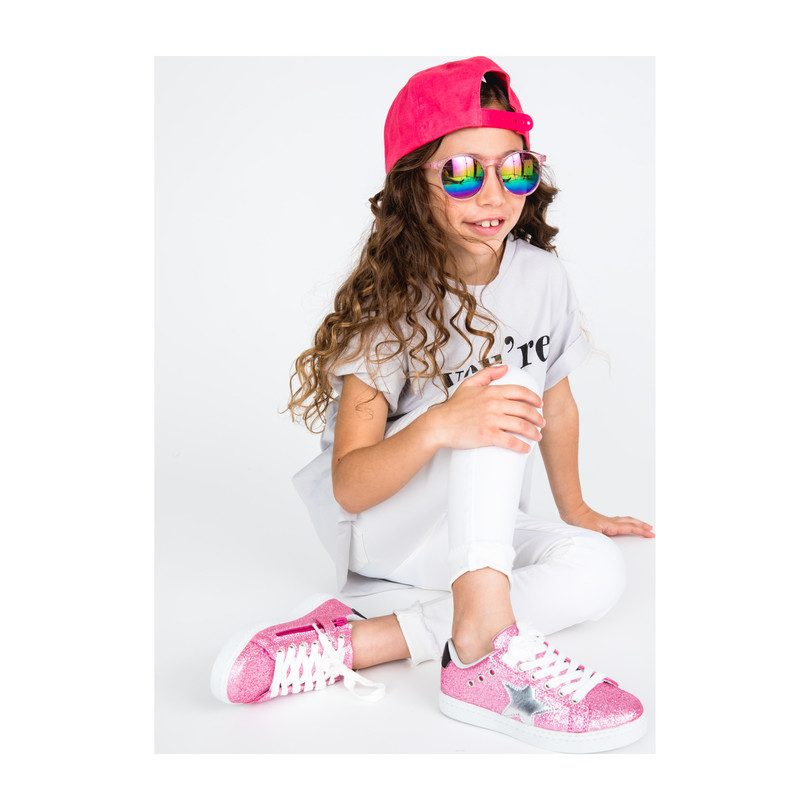Mia Star Sneaker, Pink Glitter