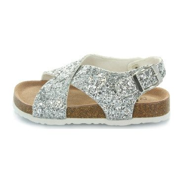 Ivy Criss Cross Sandal, Crushed Silver