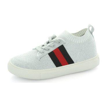 Kai Stripe Knit Sock Sneaker, Silver