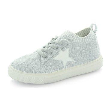Kelly Star Knit Sock Sneaker, Silver