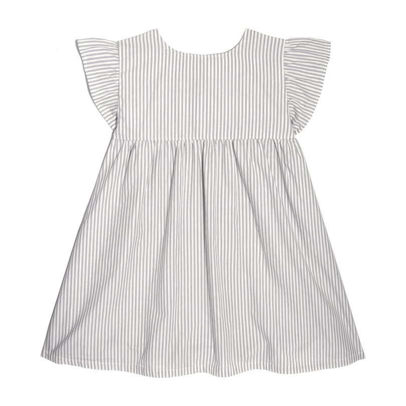 Charlotte Ruffle Sleeve Dress, Pale Grey Stripe