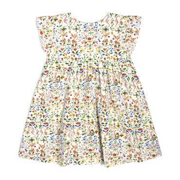 Charlotte Ruffle Sleeve Dress, Flowers & Rabbits