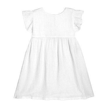 Charlotte Ruffle Sleeve Dress, White Cotton Muslin