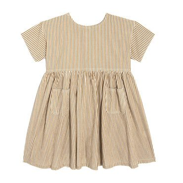 Gracie Short Sleeve Woven Pocket Dress, Nutmeg Stripe