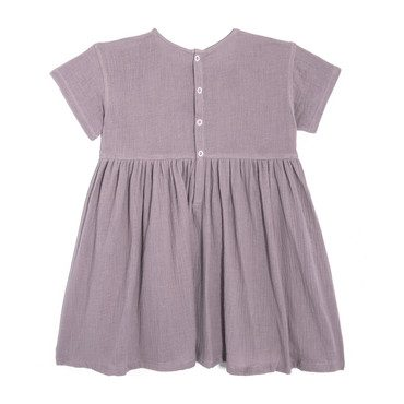 Gracie Short Sleeve Woven Pocket Dress, Lavender Cotton Muslin