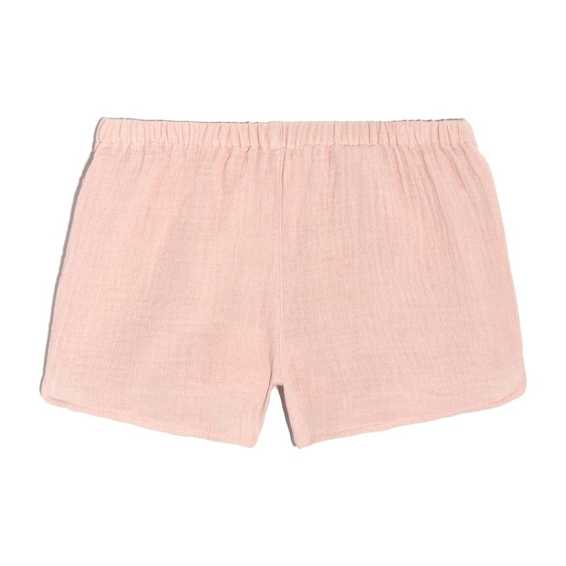 Catherine Pull-On Short, Pale Pink Cotton Muslin