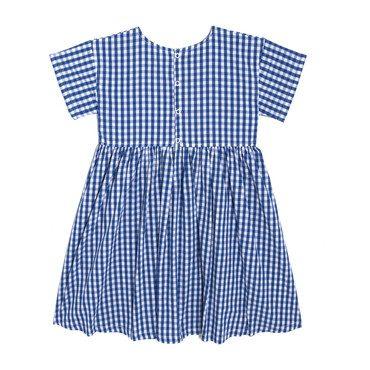 Gracie Short Sleeve Woven Pocket Dress, Royal Gingham