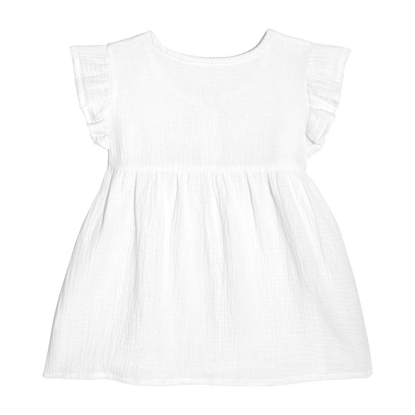 Lu Lu Ruffle Top, White Cotton Muslin