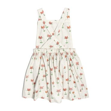 Millie Overall Dress, Cat Tulips