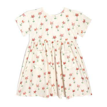 Gracie Short Sleeve Woven Pocket Dress, Cat Tulips