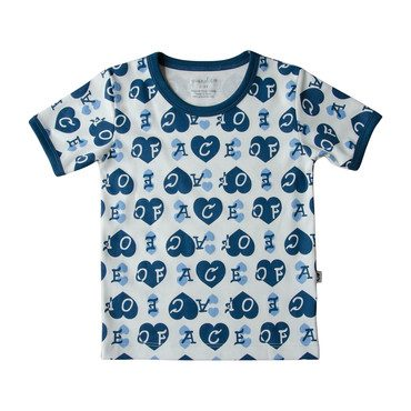 Ace of Hearts Ringer Tee, Blue