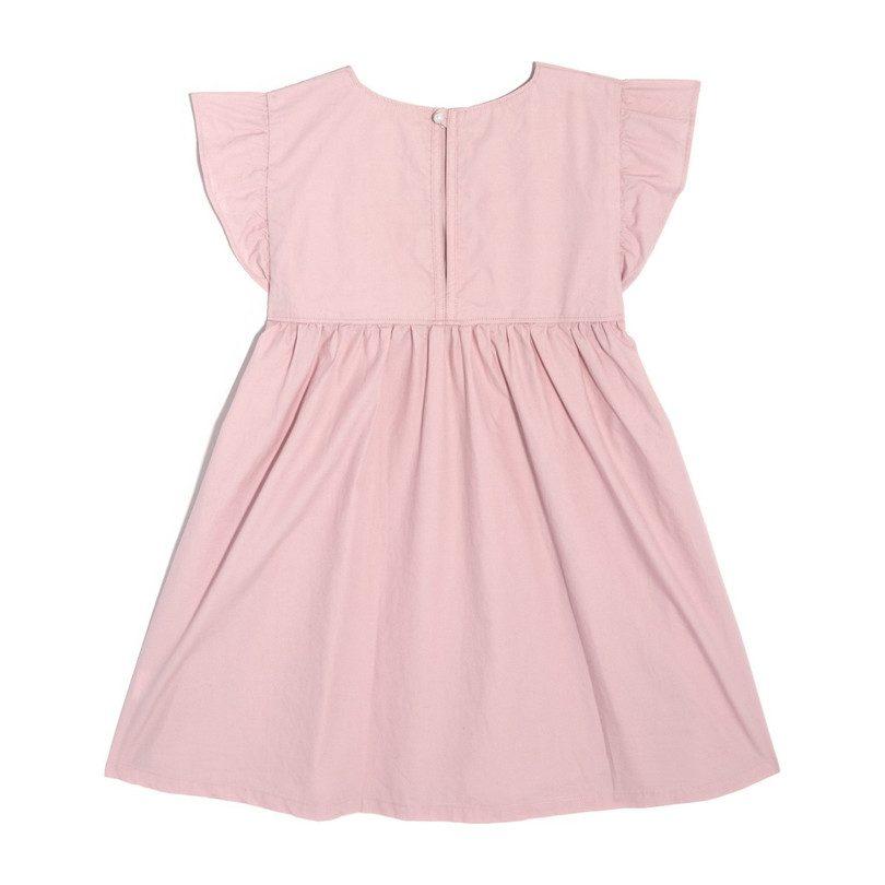 Charlotte Ruffle Sleeve Dress, Blush Cotton Poplin