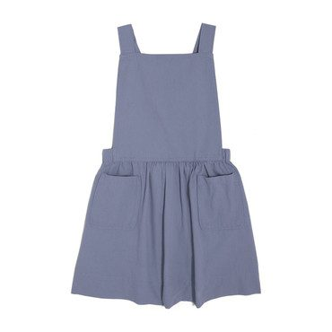 Millie Overall Dress, Dusty Blue Twill