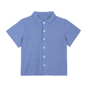 Ollie Short Sleeve Button Down, Blue Oxford