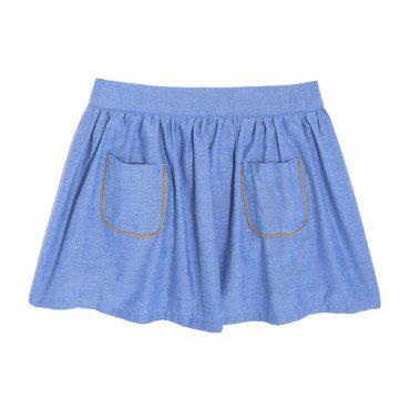 Vivian Skirt & Bloomer, True Blue Oxford