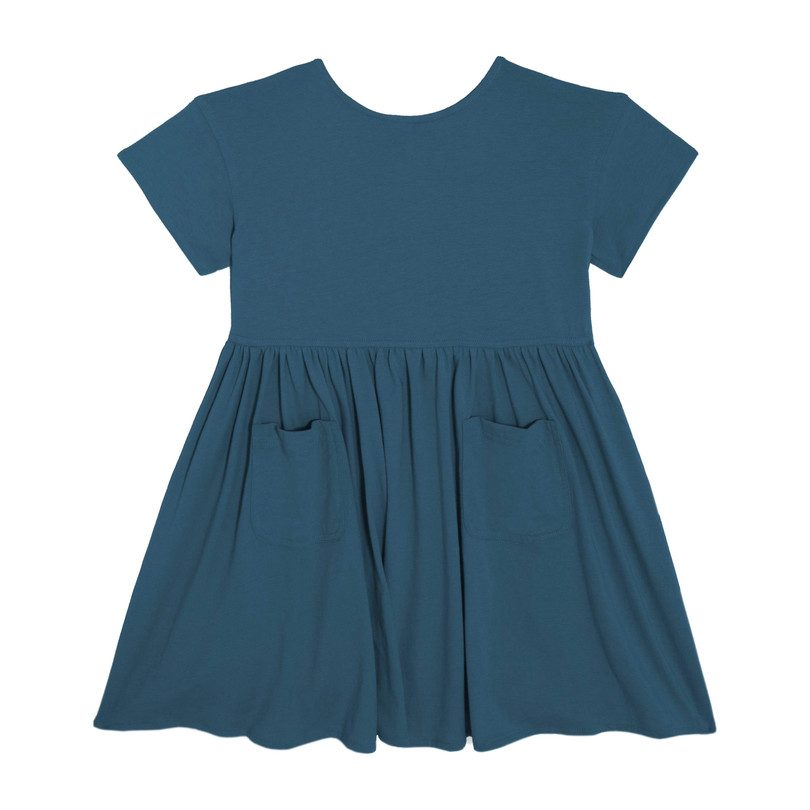 Delphine Short Sleeve Pocket Dress, Peacock Blue