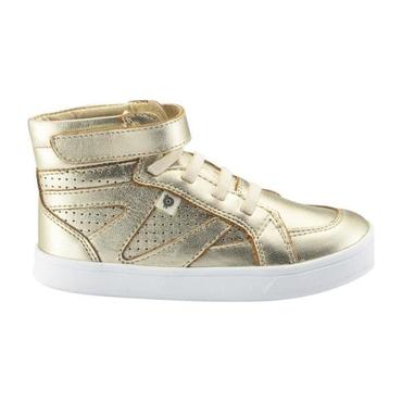 Child Starter Shoes, Gold With White Soles
