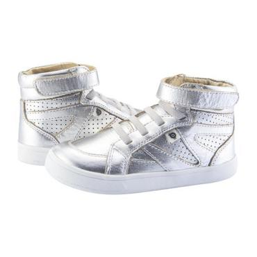 Child Starter Shoes, Silver With White Soles