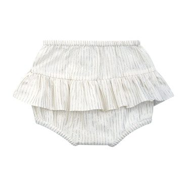 Ginette Ruffled Baby Bloomers, Silver Stripe